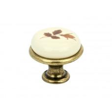 Ручка кнопка GIFF GP192 античная бронза/фарфор