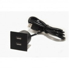 Встраиваемый USB-зарядный порт VersaPick Zamak  (1 USB.5V(2P)  мат.черный ASA